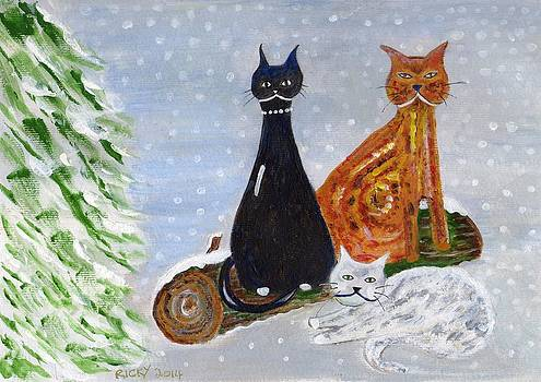 Ben's Cats in the Snow by Veronica Rickard