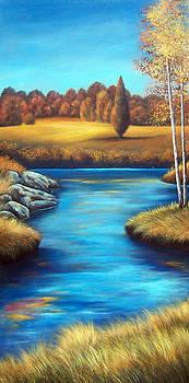 Birch Trees with River by Glenda Stevens