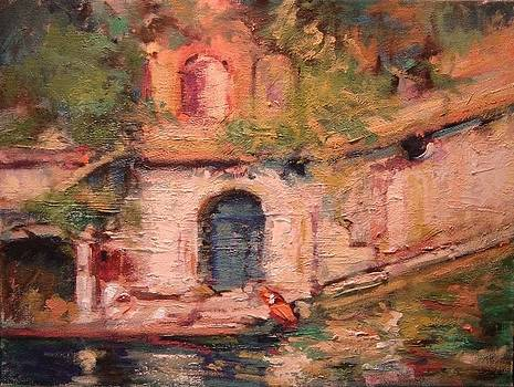 Blue door to the water by R W Goetting