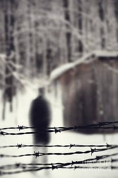 Sandra Cunningham - Blurred figure behind barbed wire fence