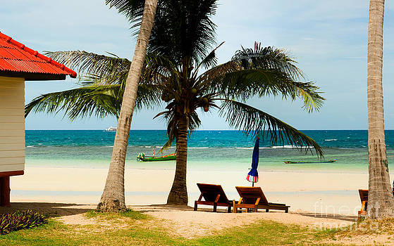 Bungalow on paradise island by Fototrav Print