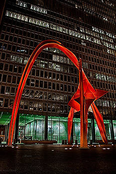 Calder Flamingo Downtown Chicago by Michael  Bennett