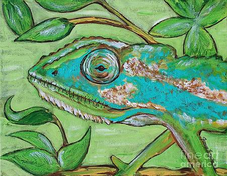 Chameleon Hitching a Ride by Jeanne Forsythe