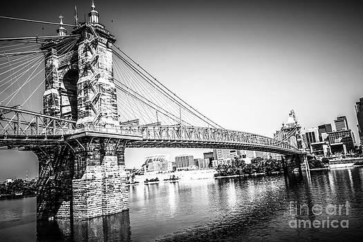 Paul Velgos - Cincinnati Roebling Bridge Black and White Picture