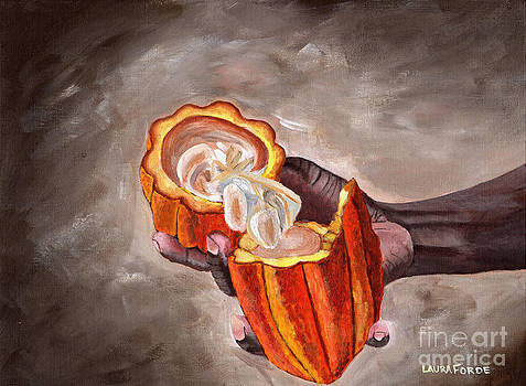 Cocoa Pod In Hand by Laura Forde