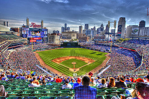 Comerica Park Detroit Skyline by A And N Art