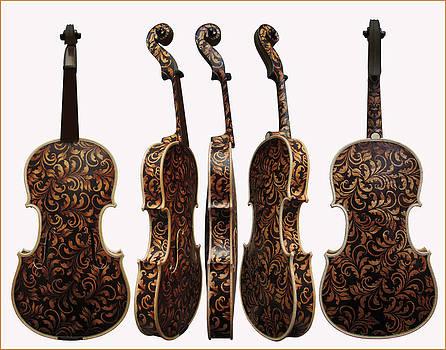 Custom Pyrographed Violin by Dino Muradian