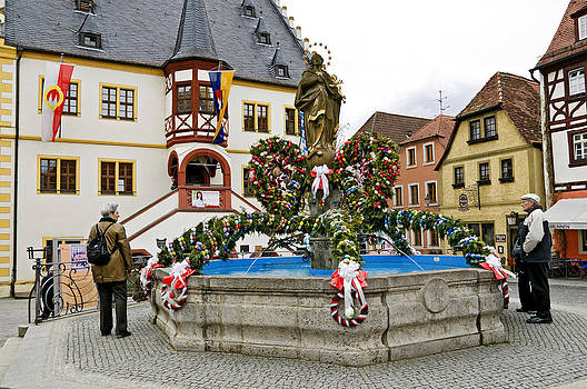 Easter fountain at Volkach Germany by David Davies