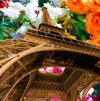 Eiffel Tower on a bed of decorative flowers by Liane Wright