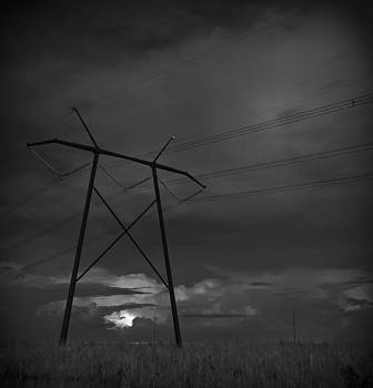 Electrical Storm At Sunset Off 27 Florida Everglades Black And White by Bradley R Youngberg
