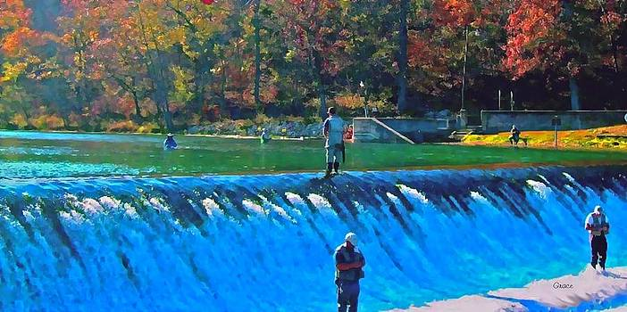 Fishing the Spillway by Julie Grace