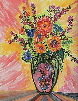 Flowers in a vase by Connie Valasco