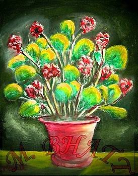 Flowers in the red pot by M Bhatt