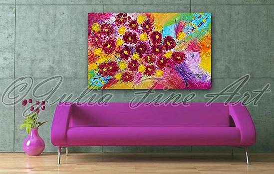 Floral Abstract Painting  by Julia Fine Art And Photography