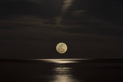 Moon Rising Over the Gulf by Gej Jones