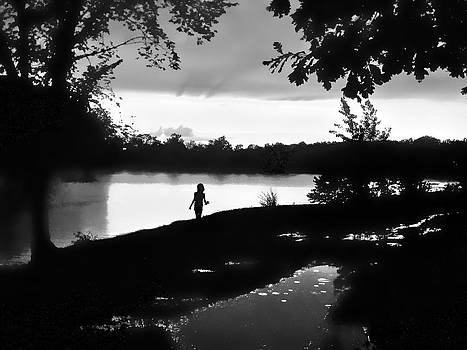 Girl Fishing Silhouette by Larry Bodinson