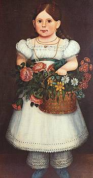 Girl With Basket of Flowers by Artist Unknown