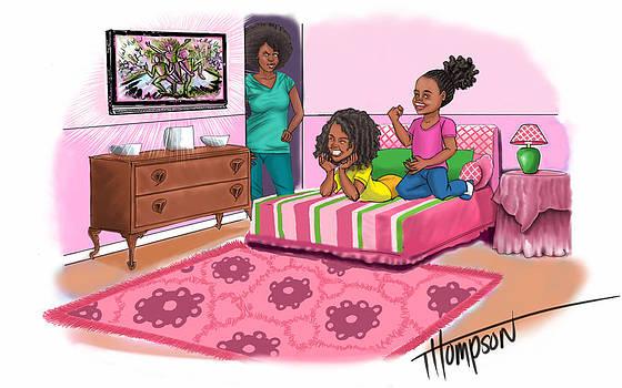 Girls Watching Tv by Antonio Thompson