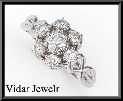 Gorgeous Flower Diamond 14k White Gold Engagement Ring  by Roi Avidar