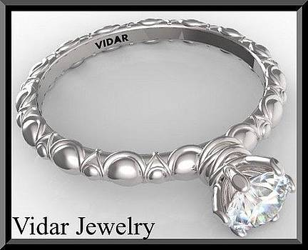 Gorgeous Round Diamond 14k White Gold Engagement Ring  by Roi Avidar