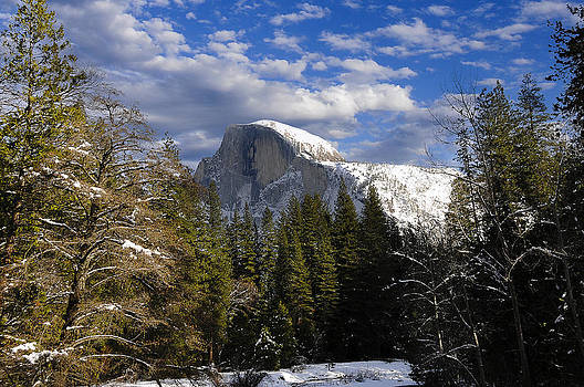 Half Dome in winter by Don and Bonnie Fink