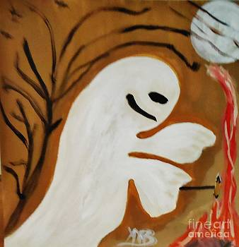 Halloween Ghost Eating Hot dogs by Marie Bulger