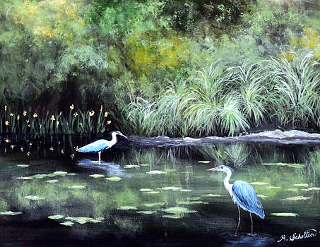 Herons in Meditation by Amy Scholten