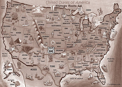 Kevin Middleton - Historic Route 66 Cartoon Map