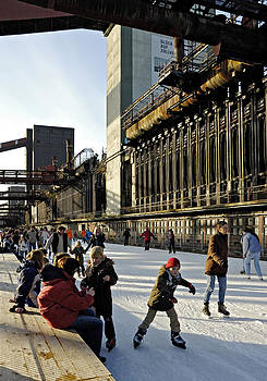 Ice skating in former Coking plant Germany by David Davies