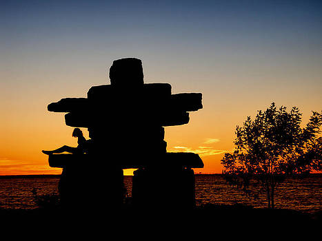 Inukshuk Collingwood Sunset by Andrea Kollo