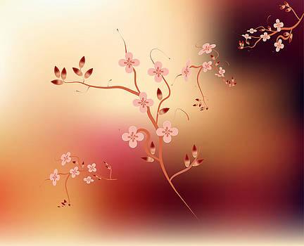 Japanese branch blossom pink background by Larisa Karpova
