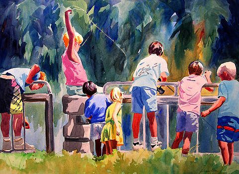 Kids Fishing by Julianne Felton
