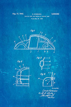 Ian Monk - Komenda VW Beetle Body Design Patent Art 1942 Blueprint