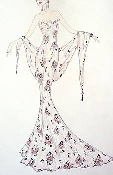 Lavender Damask Gown by Christine Corretti