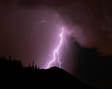 Lightning over the Tucson Mountains by Old Pueblo Photography