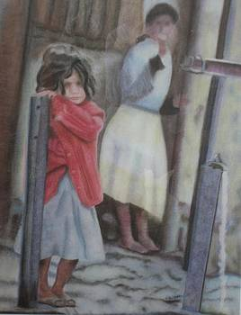 Little Girl in Red Sweater by RE   Ruth Thomas