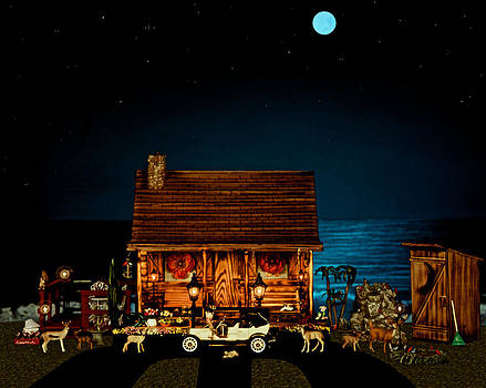 Log Cabin And Out House  Scene With Old Vintage Classic 1908 Model T Ford In Color by Leslie Crotty