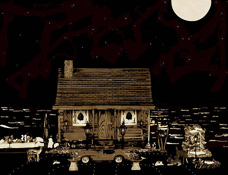 Log Cabin Scene With Old Time Classic Vintage 1958 Ferrari Testa Rossa In Sepia Color by Leslie Crotty