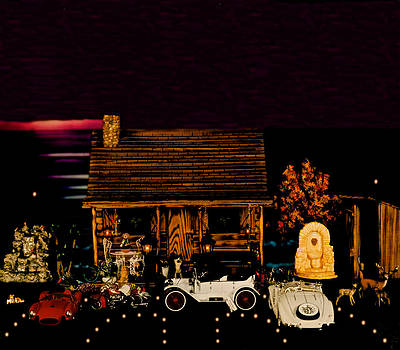 Log Cabin Scene With Some Old Vintage Classic Cars From The Past by Leslie Crotty