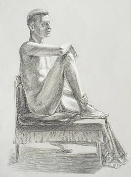 Irina Sztukowski - Male Model Seated Charcoal Study