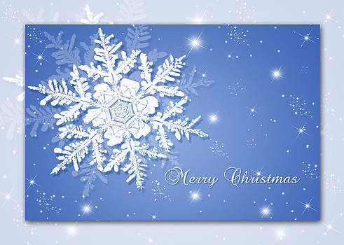 Merry Christmas Snowflake Card by Mariola Szeliga