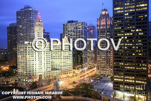 Michigan Avenue and Wrigley Building - Chicago - Limited Edition by Hisham Ibrahim