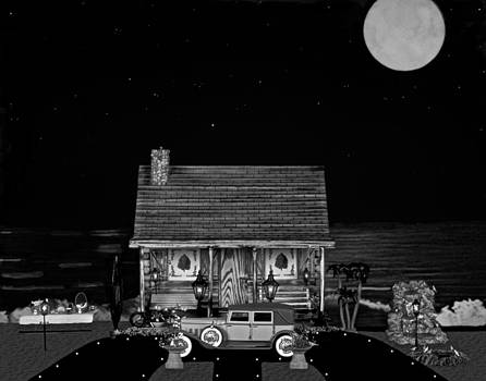 MINIATURE LOG CABIN SCENE WITH OLD TIME VINTAGE CLASSIC 1930 Packard LaBaron in black and white by Leslie Crotty
