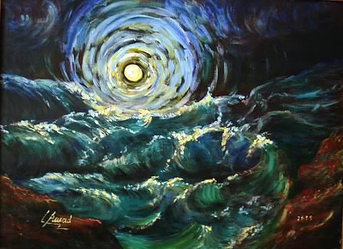 Moon and waves by Laila Awad Jamaleldin