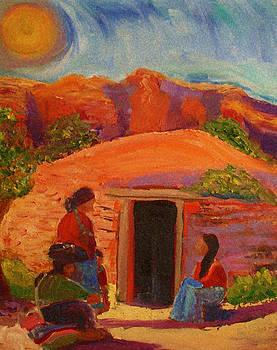 Navajo Family by Carolene Of Taos