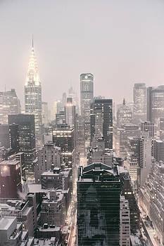 New York City - Snow Covered Skyline by Vivienne Gucwa