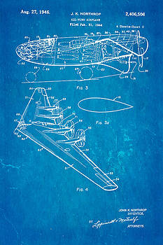 Ian Monk - Northrop All Wing Airplane Patent Art 2 1946 Blueprint