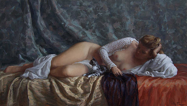 Nude with a kitten by Korobkin Anatoly