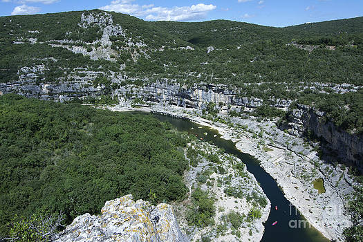BERNARD JAUBERT - oing down Ardeche River on canoe. Ardeche. France