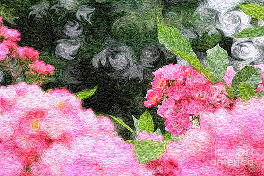 Beverly Claire Kaiya - Painterly Pink Wild Roses with Green White Swirls